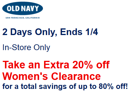 old navy clearance in stores